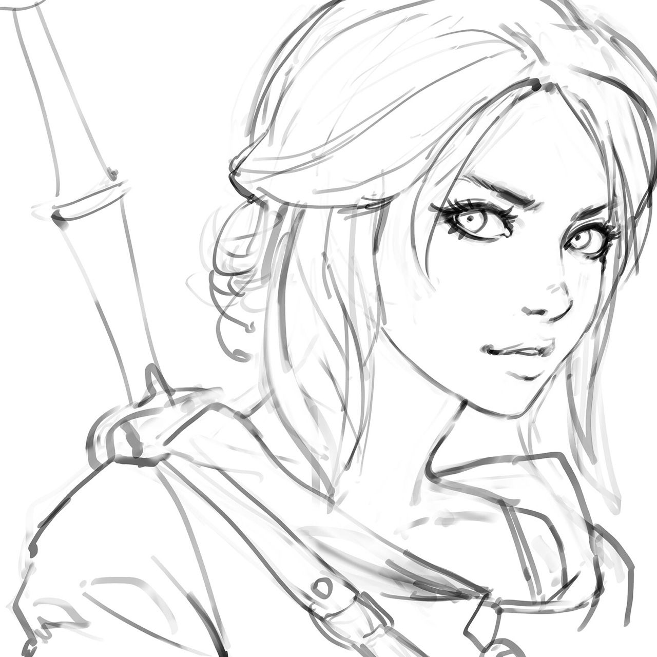 Line Drawing Female : Dullahan — kr npr nz ciri fanart process steps you can