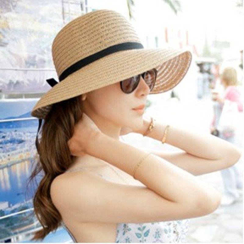 ca2e1e48e92 Fashion Beautiful Adult cap Bow Straw hat Summer Sun Beach Sun caHat Girl  Women caHat sun