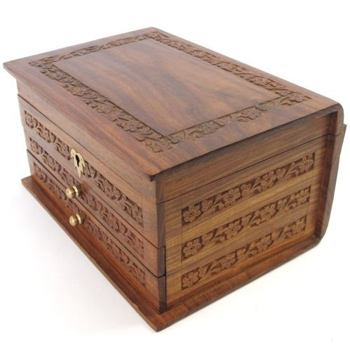 Large Hand Carved Wooden Jewellery Box 2 Draws Lock and Key Mirror