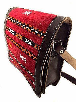 Vintage Moroccan Embroidered Leather Messenger Bag  Purse  Handbag Morocco