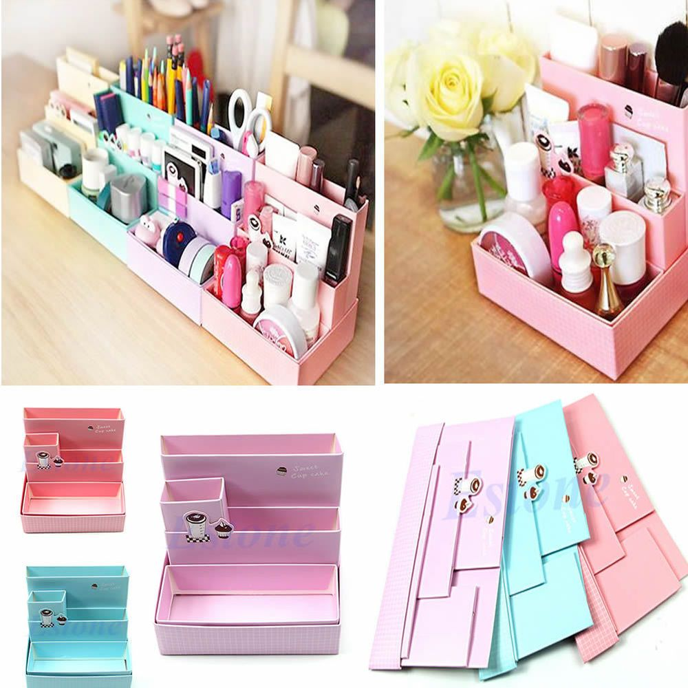 Decorative Document Storage Boxes Diy Paper Board Storage Box Desk Decor Stationery Makeup Cosmetic