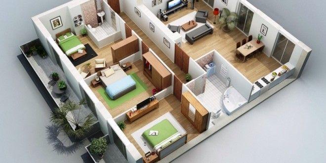 9 Desain Denah Rumah 3 Kamar Tidur Terbaik Gambar