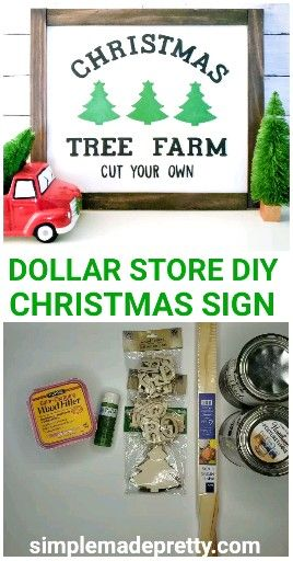 DOLLAR TREE DIY Farmhouse Christmas Tree Sign - Dollar Tree Christmas Sign, DIY Farmhouse Sign -   17 diy christmas decorations dollar store farmhouse ideas