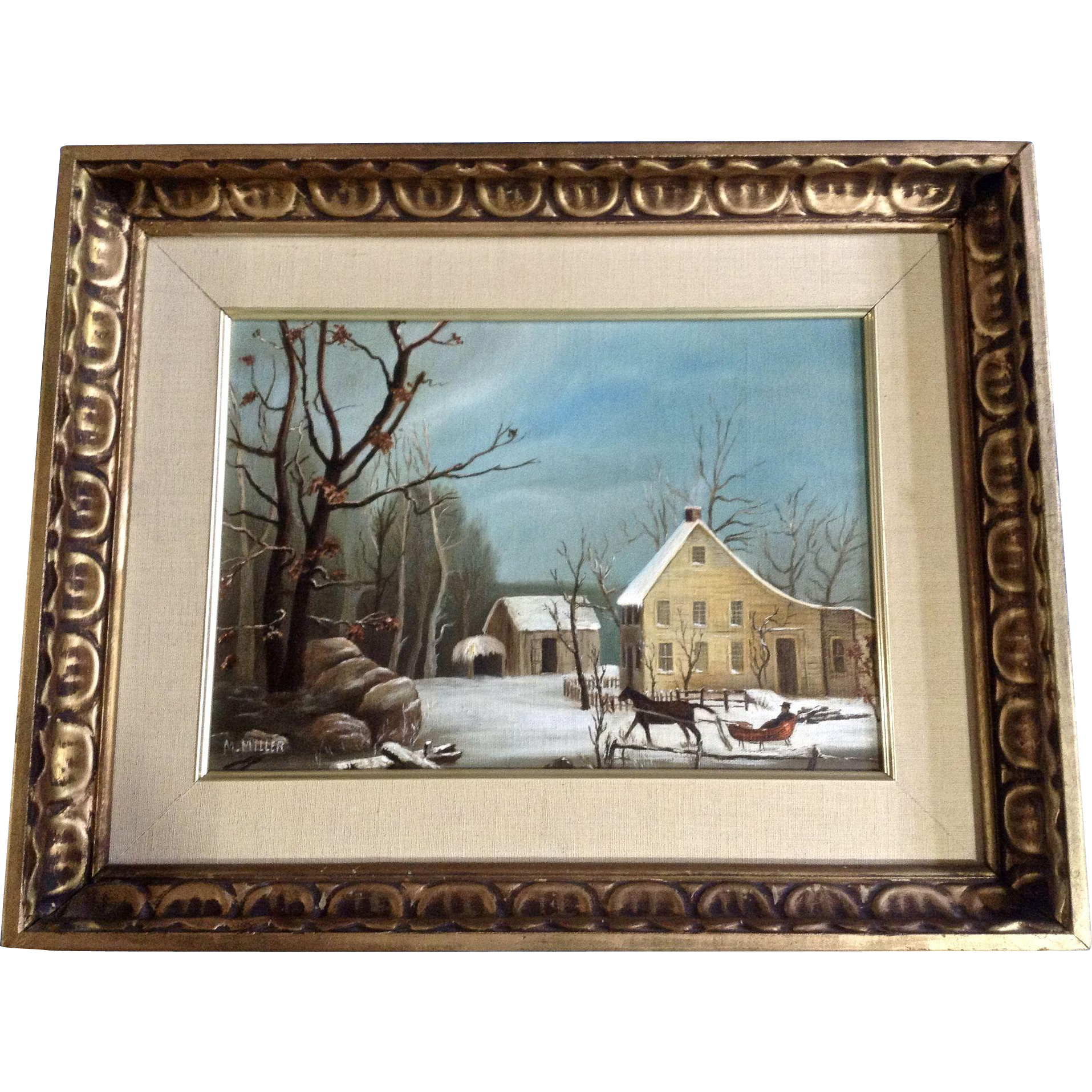 M Miller Primitive Folk Art Winter Scene Oil Painting On Canvas Signed By Artist Oil Painting On Canvas Painting Art