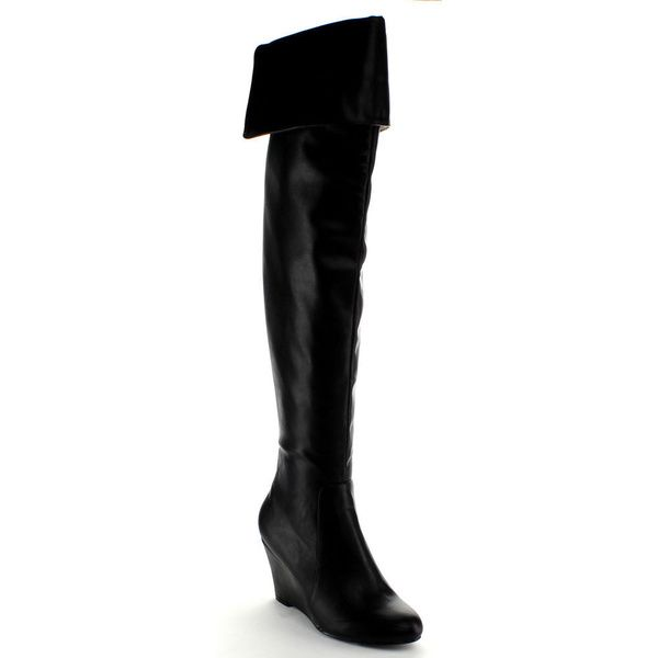 Nature Breeze Women's 'Bonnie-01H' Black Over-the-knee Wedge Boots - Overstock™ Shopping - Great Deals on Nature Breeze Boots