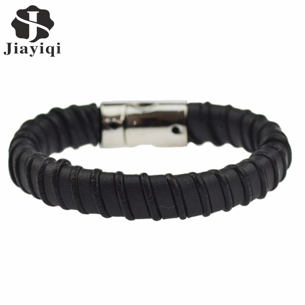 Jiayiqi high quality braided leather bracelet for men jewelry