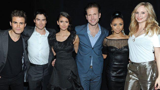 The Vampire Diaries cast members Paul Wesley, Ian Somerhalder, Nina Dobrev, Matt Davis, Kat Graham and Candice Accola attended the annual PaleyFest celebrating their show.