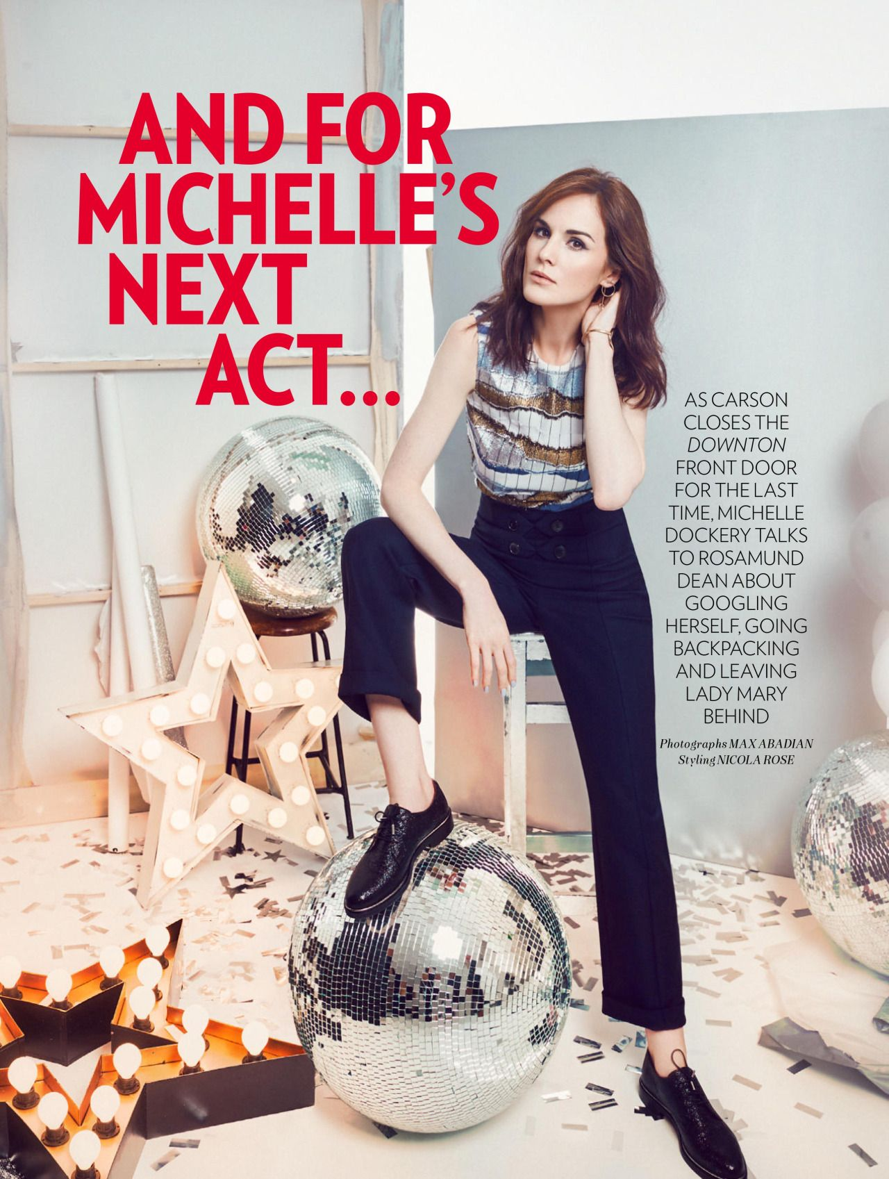 Fashion look from january 2016 featuring pink opaque tights round - Michelle Dockery For Red January 2016