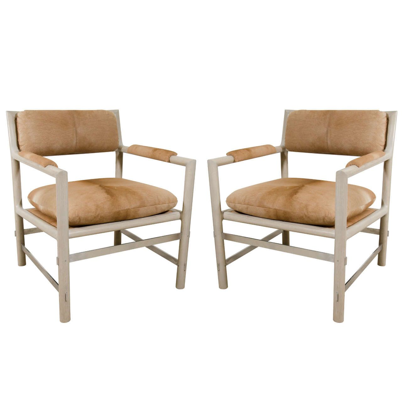 Pair Of Edward Wormley For Dunbar Chairs In Cowhide, Circa 1960, USA | See