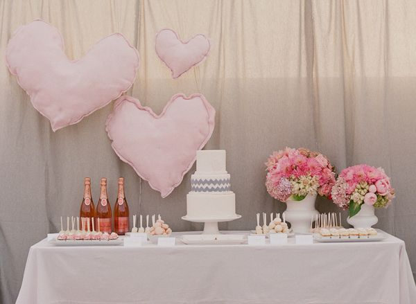 lots of love with this pink and grey celebratory desser table!  The chevron pattern is a nice touch and we love pink champagne!  Can be for more than a wedding.