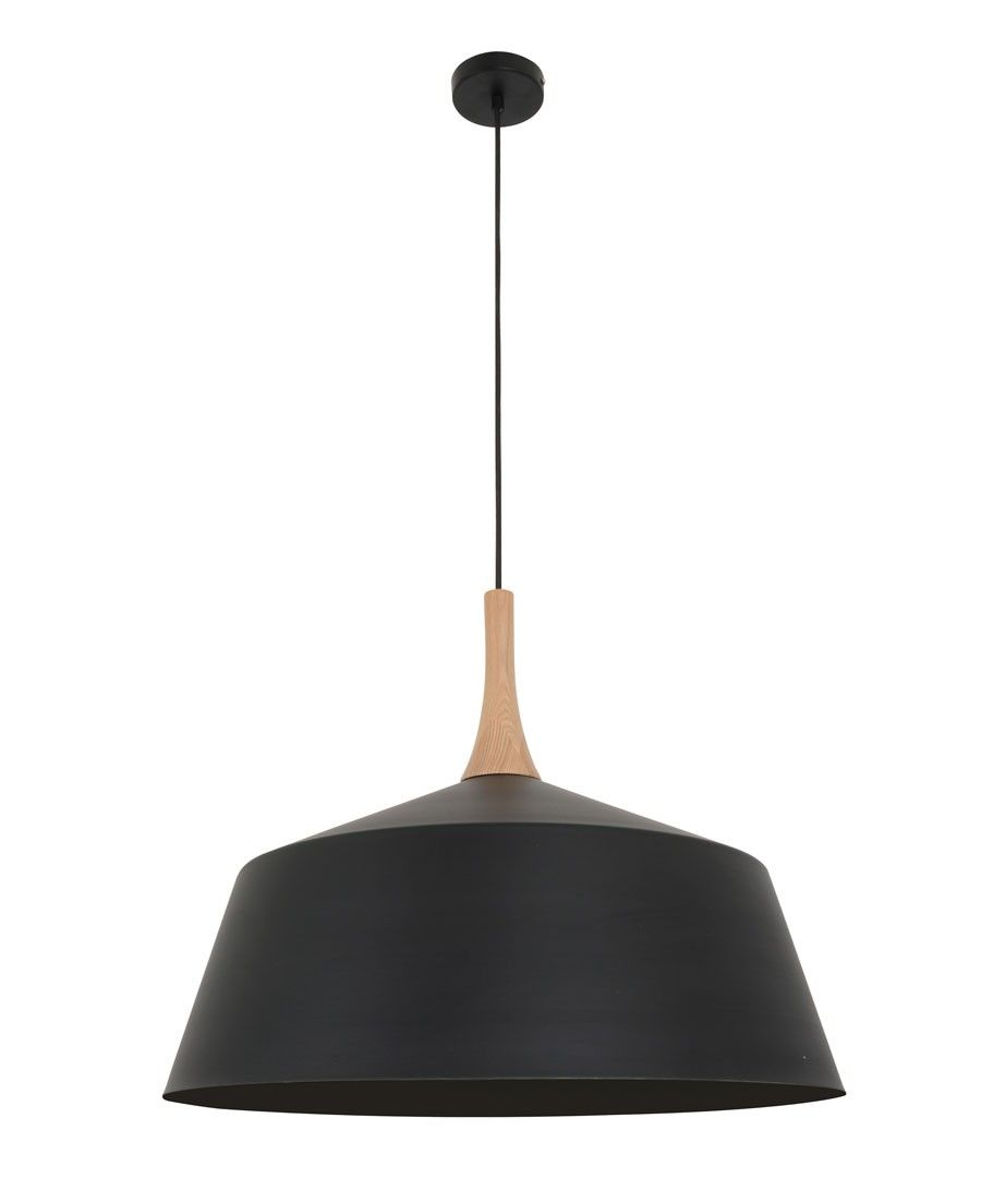 Husk 550mm Pendant In Matt Black/Ash