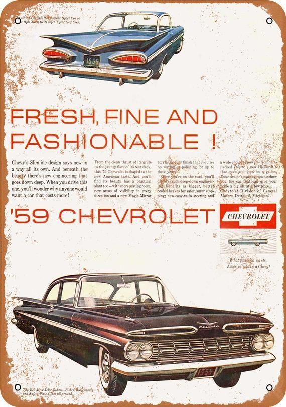 1959 Chevrolet Impala and Bel Air Vintage Look Metal Sign