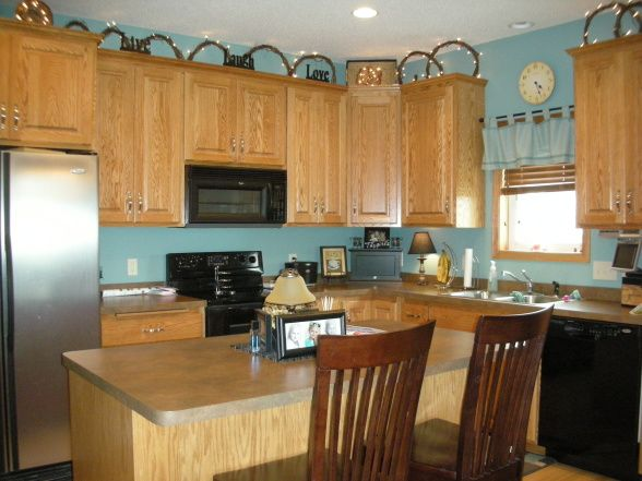 Light Turquoise Kitchen Walls With Brown Cabinets Home