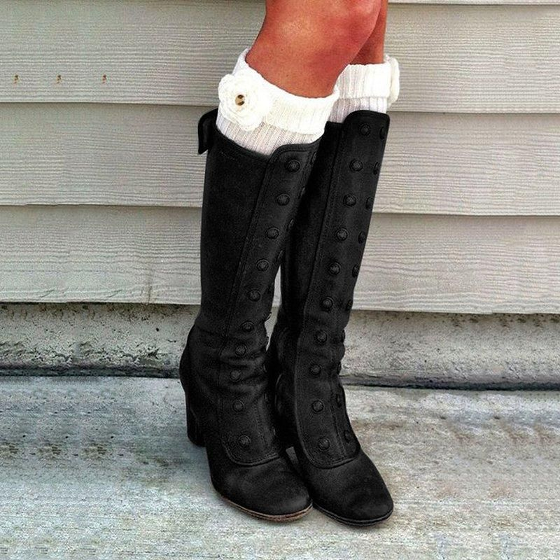 Winter Women Thermal Shoes,Womens Winter High Heel Long Boots Bandage High Ladies Boots Knee High Boots