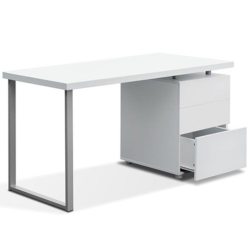 Home Office Computer Desk W/ 2 Drawer Cabinet U0026 Metal Leg White