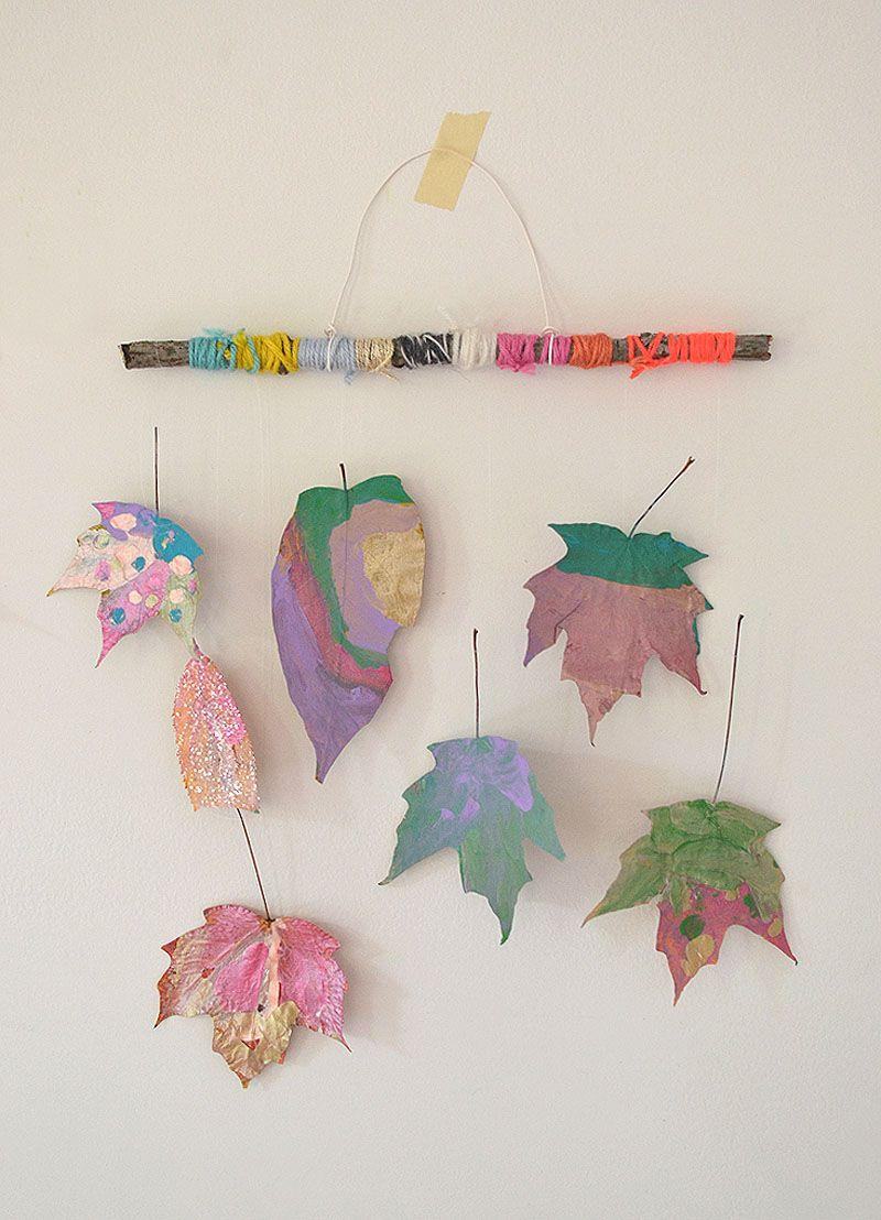 Painted Leaf Mobiles Art Bar Blog Leaf Crafts Crafts