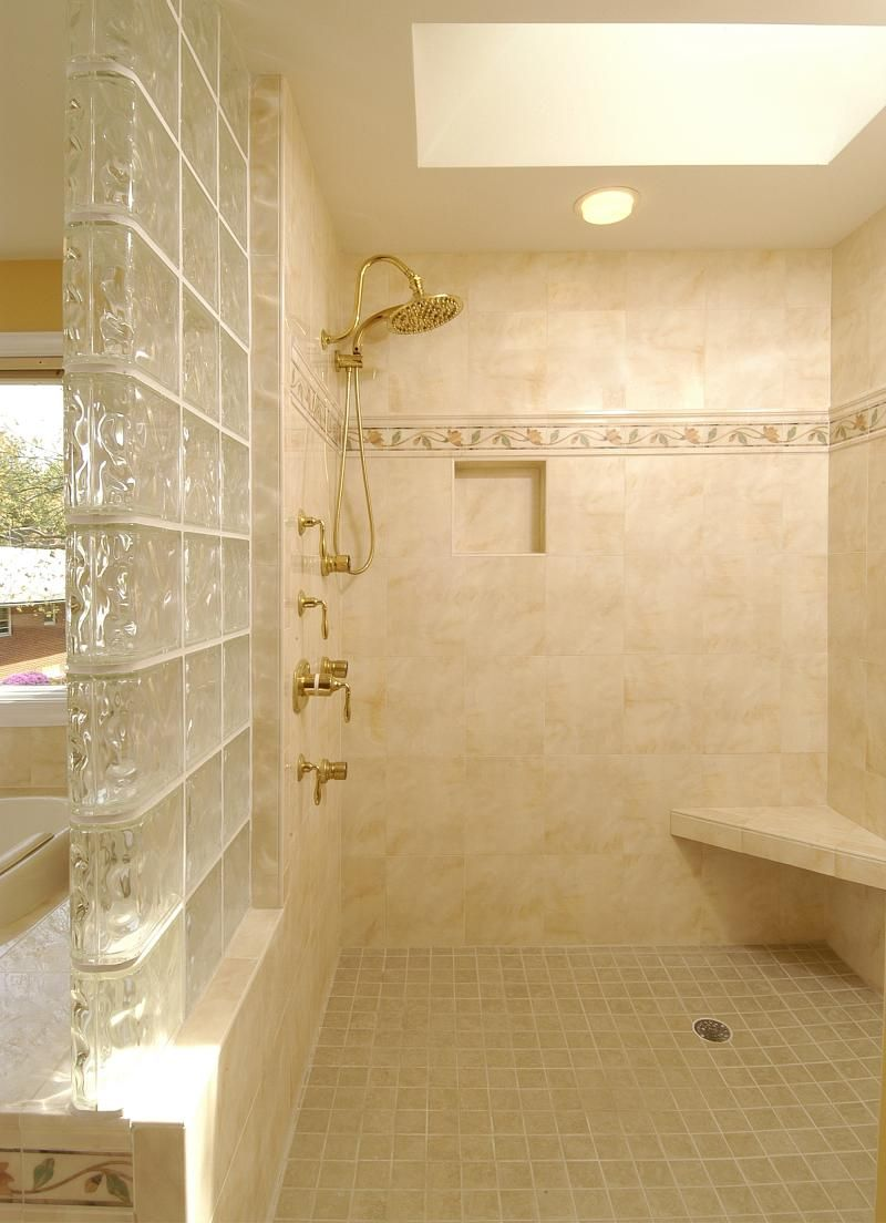 glass wall walk in...hate the tile but love the half glass wall ...