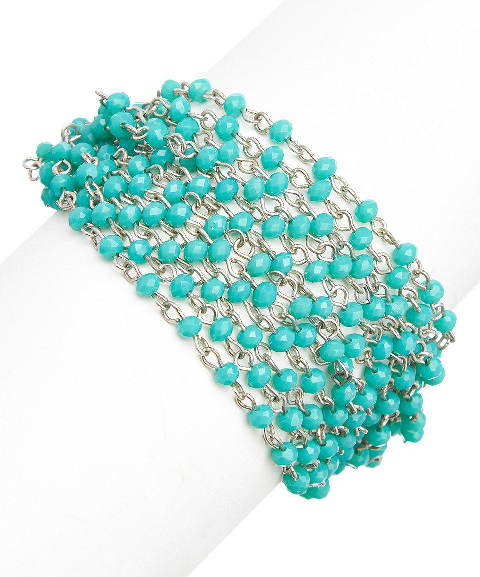 Turquoise Crystal & Silvertone Multi-Strand Beaded Bracelet by Jamierocks #zulily #zulilyfinds