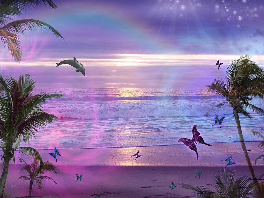 Purple Ocean Dream By Mgl Meiklejohn Graphics Licensing Dolphins Ocean Pictures