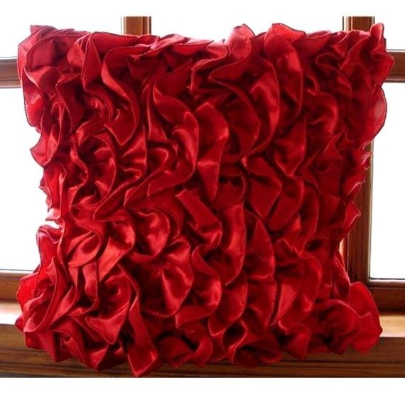 Decorative Red European Pillowcase 24 X24 Satin Throw Pillow