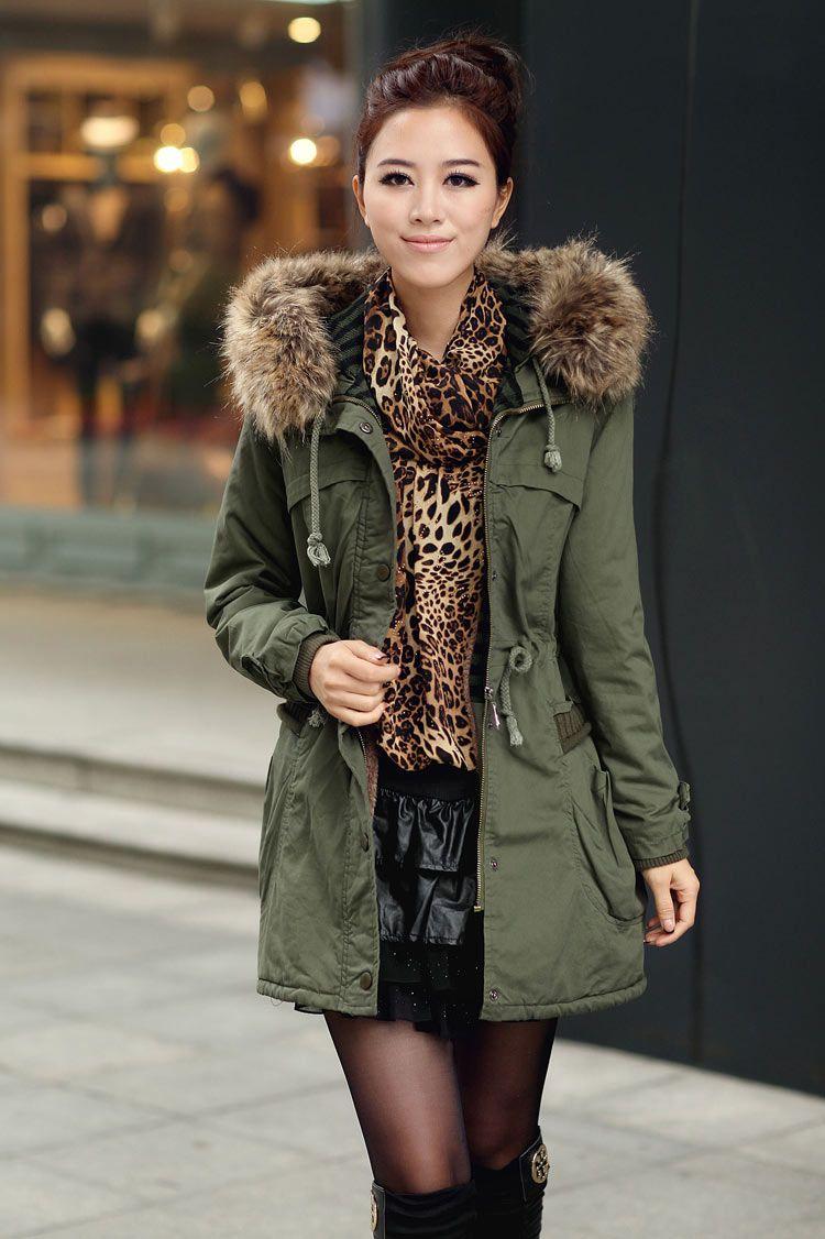 69240b4ac3260 Green Womens Winter Coats Faux Fur Lining Parka With Fur Hood on Luulla