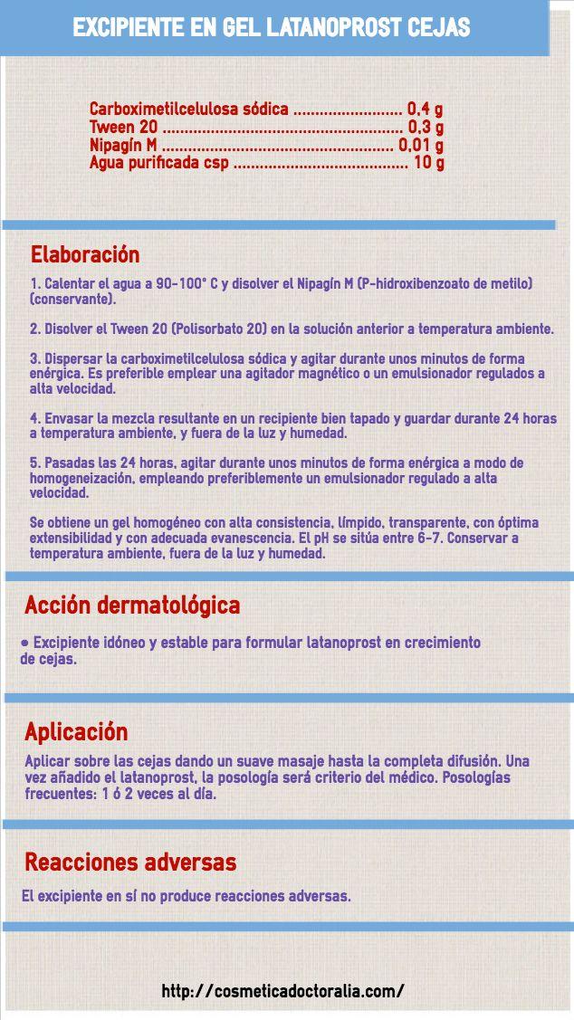 Latanoprost Excipiente En Gel Consistente Para Alopecia De Las Cejas Productos Caseros De Belleza Como Hacer Jabones Naturales Recetas De Jabón