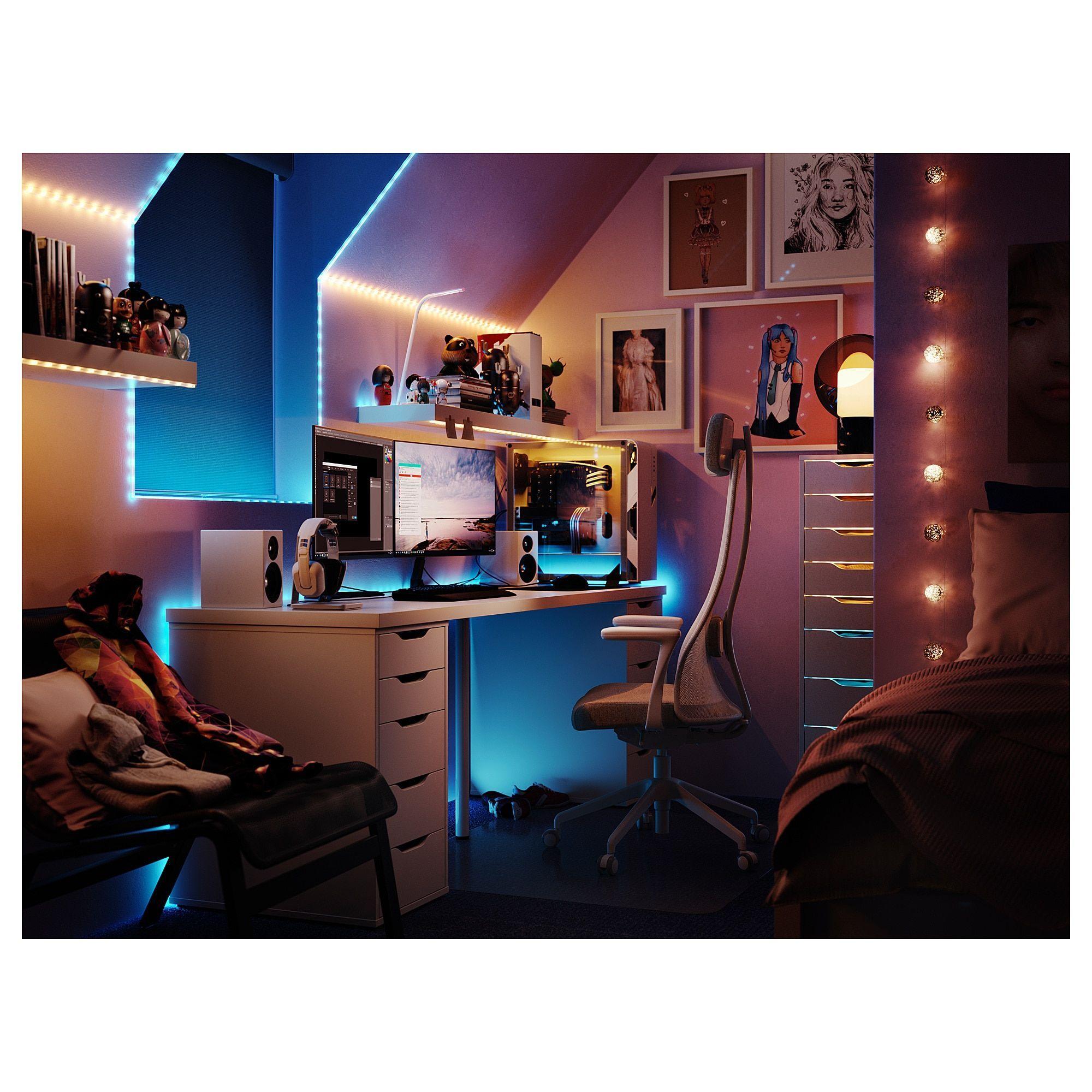 Pc Gaming Setup Discover Linnmon Alex Table White 78 3 4x23 5 8 Ikea In 2020 Room Setup Gamer Room Ikea
