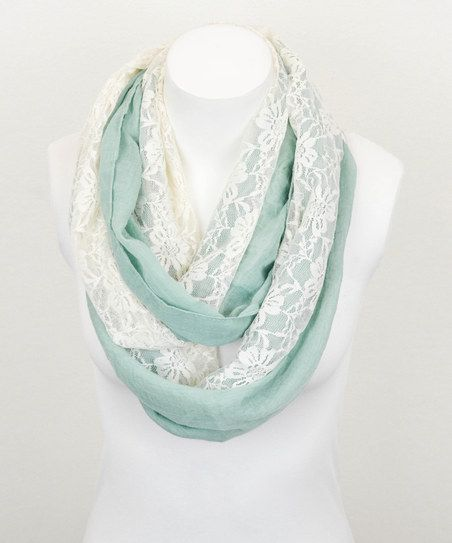 Fashion Beauty Cute Scarfs Pretty: Mint & White Lace Mix Infinity Scarf