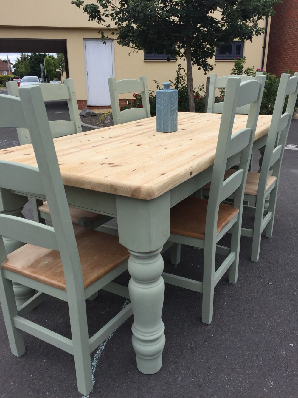 6ft farmhouse table and 6 chairs in sage green! | Painted ...