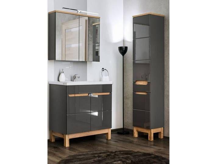 Badezimmer Set Mit 80cm Keramik Waschtisch Led Spiegelschrank Solna In 2020 Vanity Bathroom