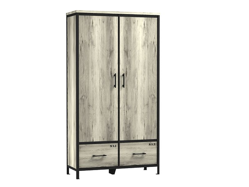 armoire 2 portes 2 tiroirs loft coloris ch ne canyon. Black Bedroom Furniture Sets. Home Design Ideas