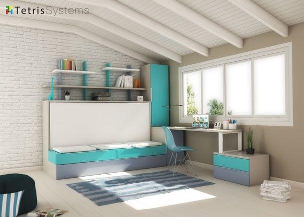 Cama abatible con sof nido escritorio y armario - Habitaciones juveniles camas abatibles horizontales ...
