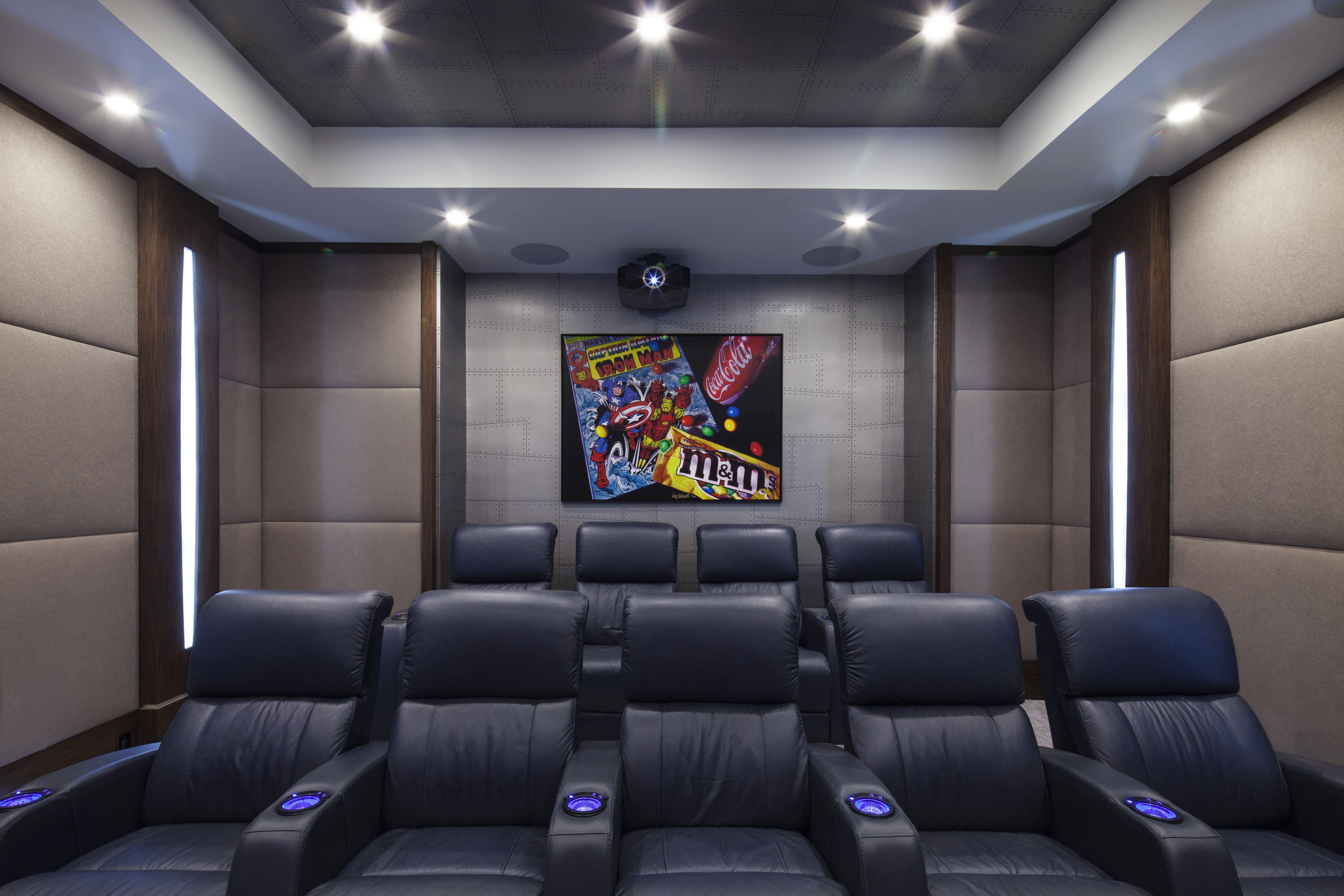 Designer Sarah Zohar Photo Credit Paul Stoppi Wall Art Captain America By Dougbloodworth Home Theater Room Design Living Room Theaters Interior Design