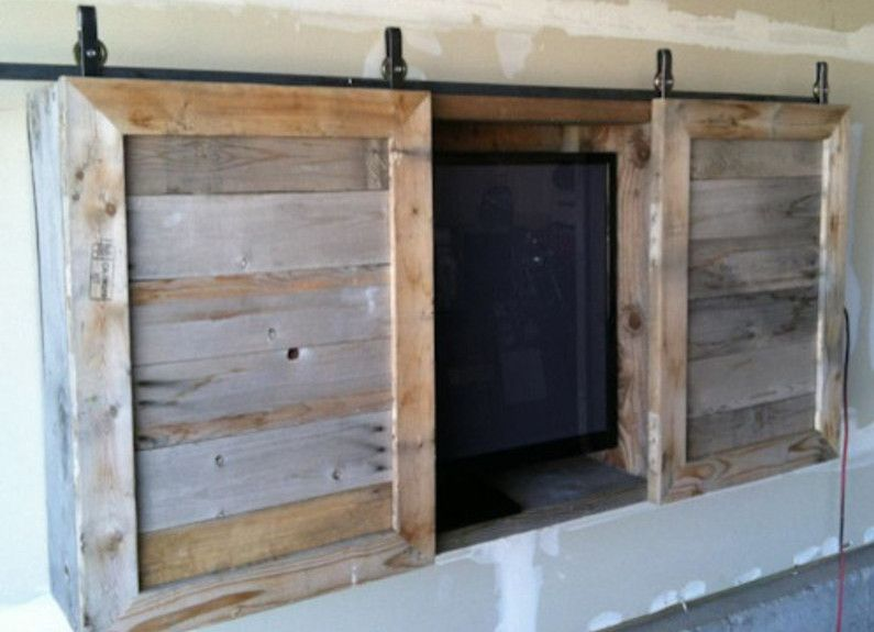 Lovely Flat Screen TV Cabinet With Barn Door Slider With Distressed Wood(Diy  Furniture Sliders)