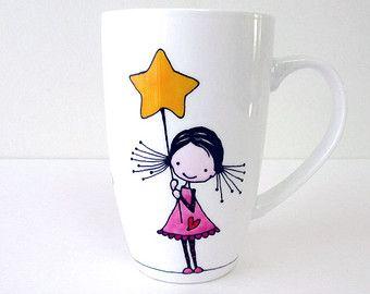 Hand bemalte Porzellan Kaffee Tee Tasse mit Anti-Evil Eye-Designs, Küche Dekor, personalisierte Becher, silberne Punkte, Amulett, Housewarming Geschenk