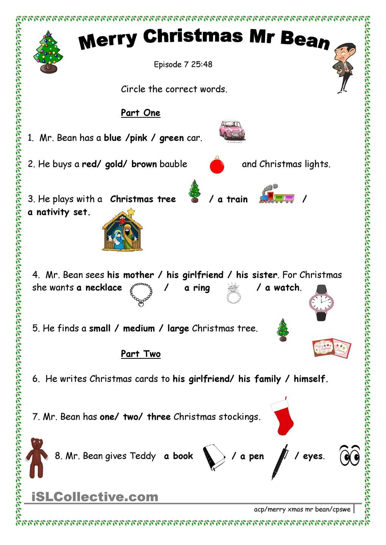 Merry Xmas Mr Bean Christmas classroom activities