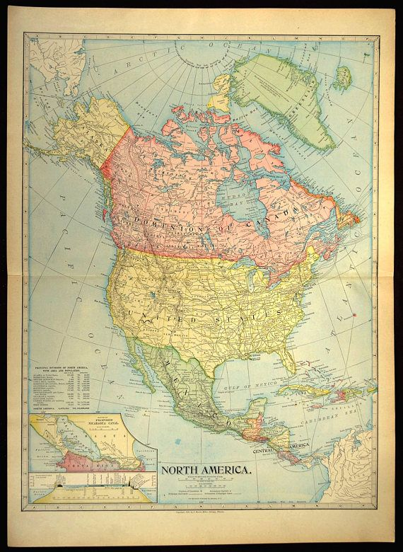 North America Map LARGE Map North America Antique Wall Art   Map ...
