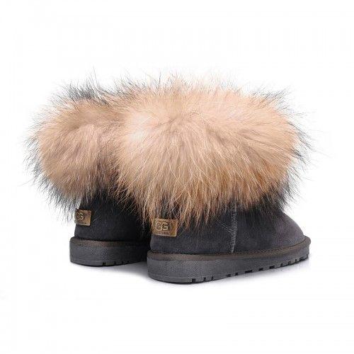 9075187e7bae predaj Dámske UGG líščou kožušinou ovčej kožušina Fox Mini obuv čižmy 5854  šedá