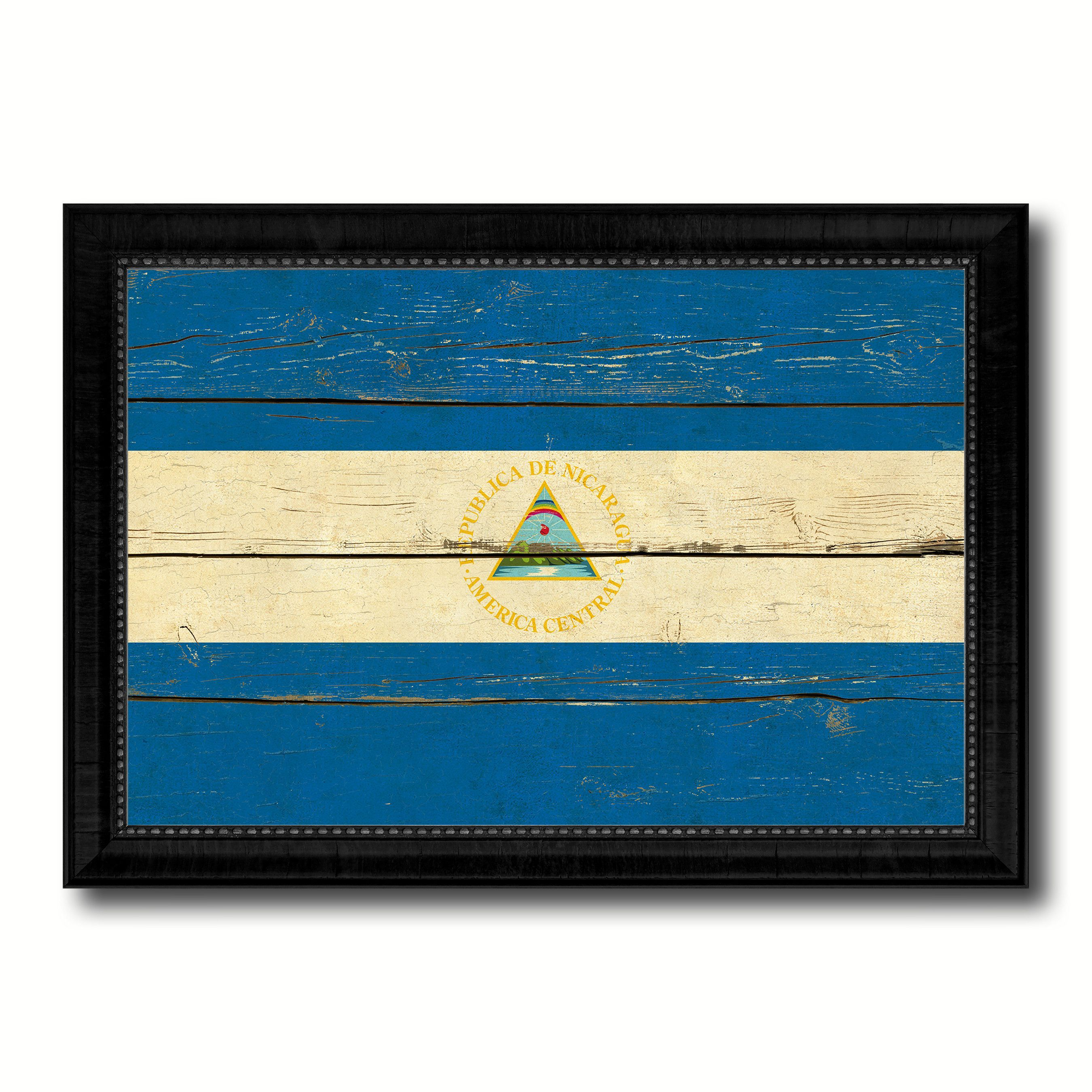 Nicaragua Country Flag Vintage Canvas Print with Black Picture ...