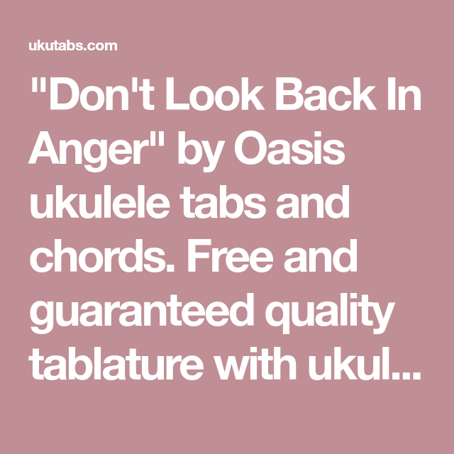 Don\'t Look Back In Anger\