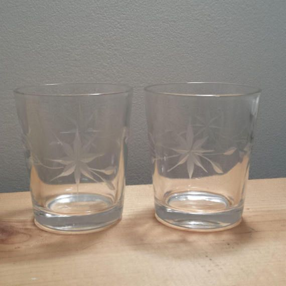 Weston Louie Glass Company Pair Of Clear Etched Glass High Ball Glasses Vintage Drinking Glasses Sol Vintage Drinking Glasses High Ball Glasses Glass Company
