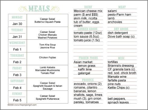 organisation printable avec tableau des repas par jour de la semaine et liste de courses. Black Bedroom Furniture Sets. Home Design Ideas