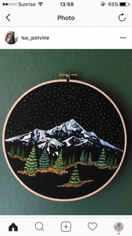 55+ Ideas Embroidery Hoop Art Mountains For 2019 #embroidery