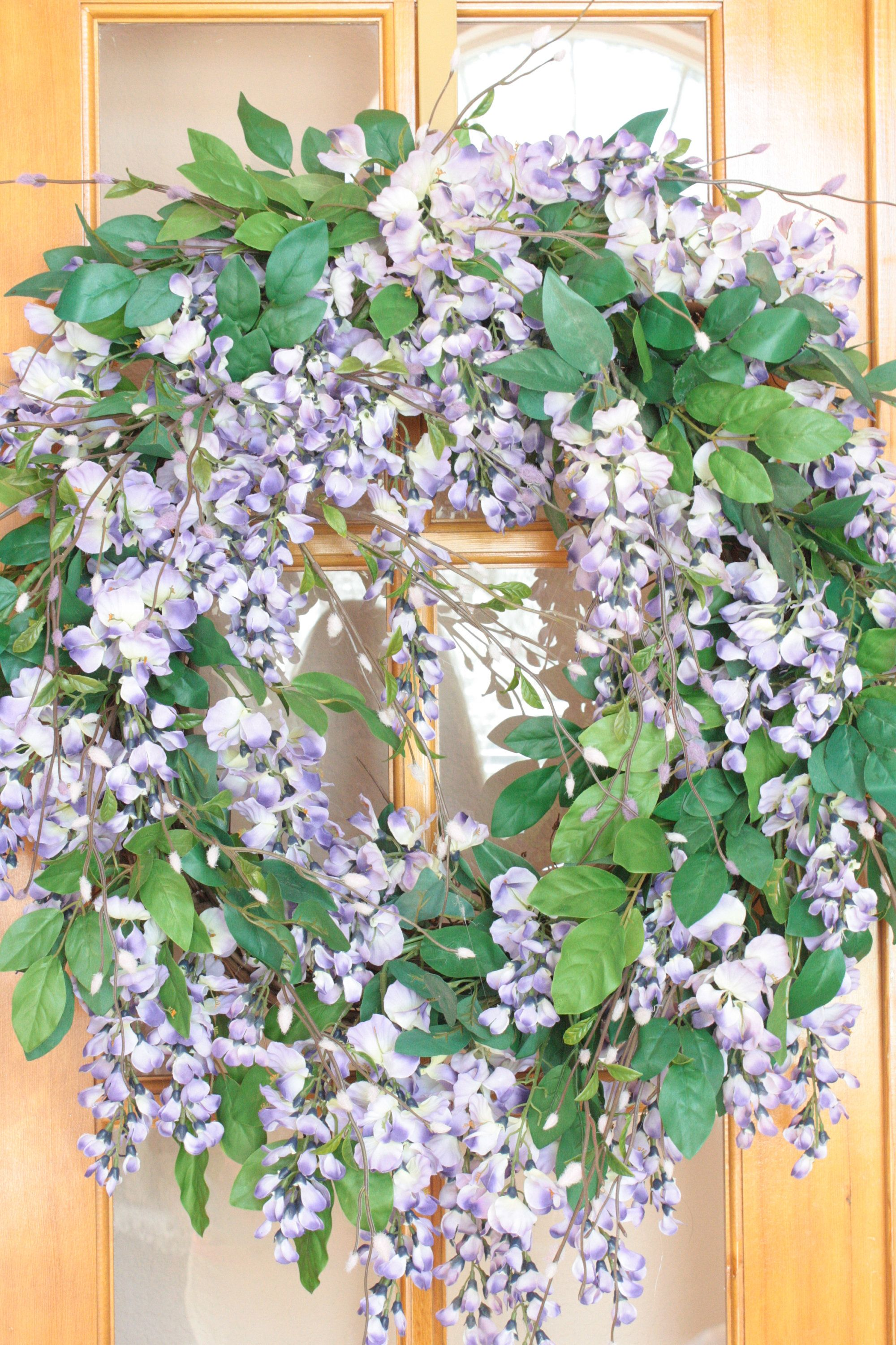 Silk Flower Floral Wreath Purple Wisteria Pussy Willows 22 X