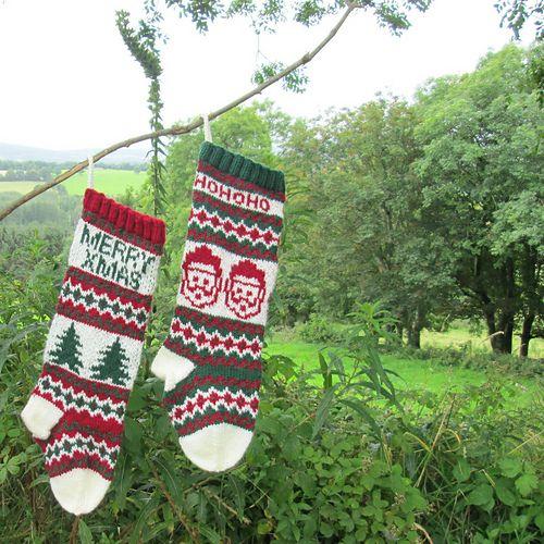 Santas and Trees Stockings pattern by Gigi Knits   Holiday socks ...