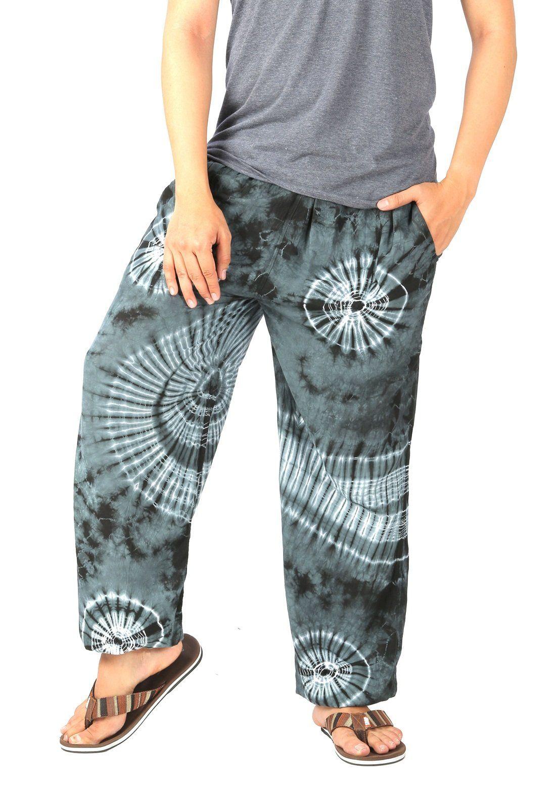 5b9edb8a00 CandyHusky Men Tie Dye Elastic Waist loose fit Hippie Baggy Joggers Yoga  Pants (S/