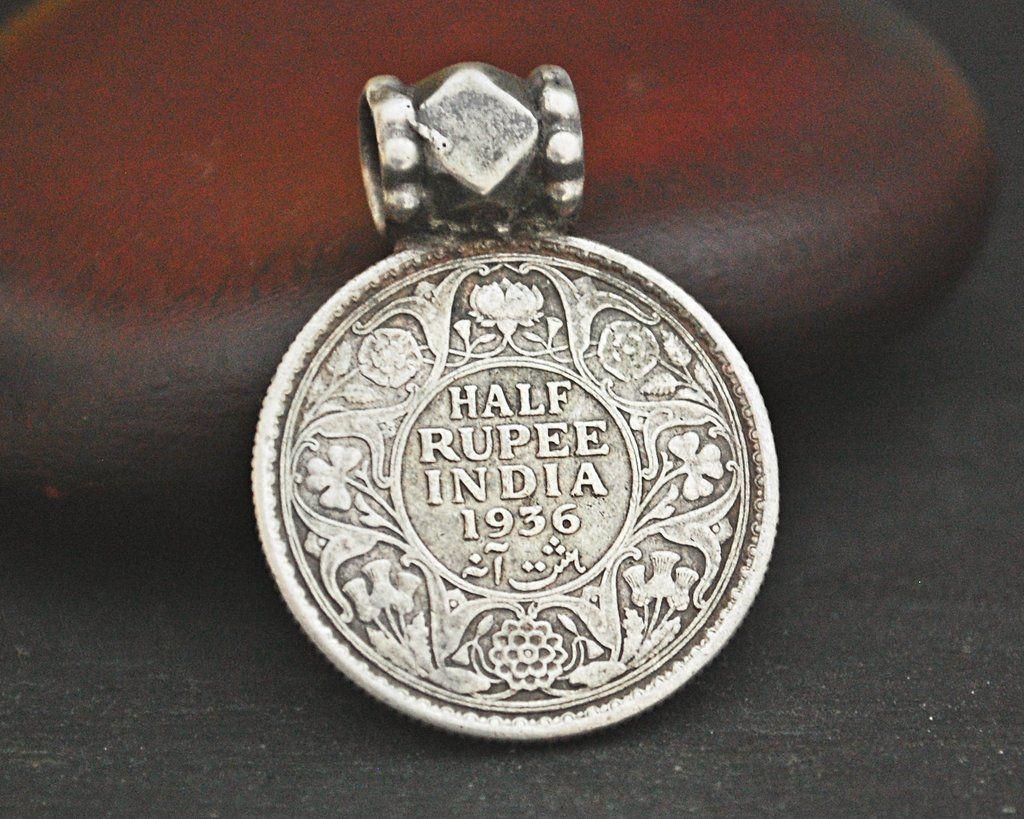 Antique Indian Half Rupee Coin Pendant 1936 Coin Pendant Pendant Tribal Jewelry