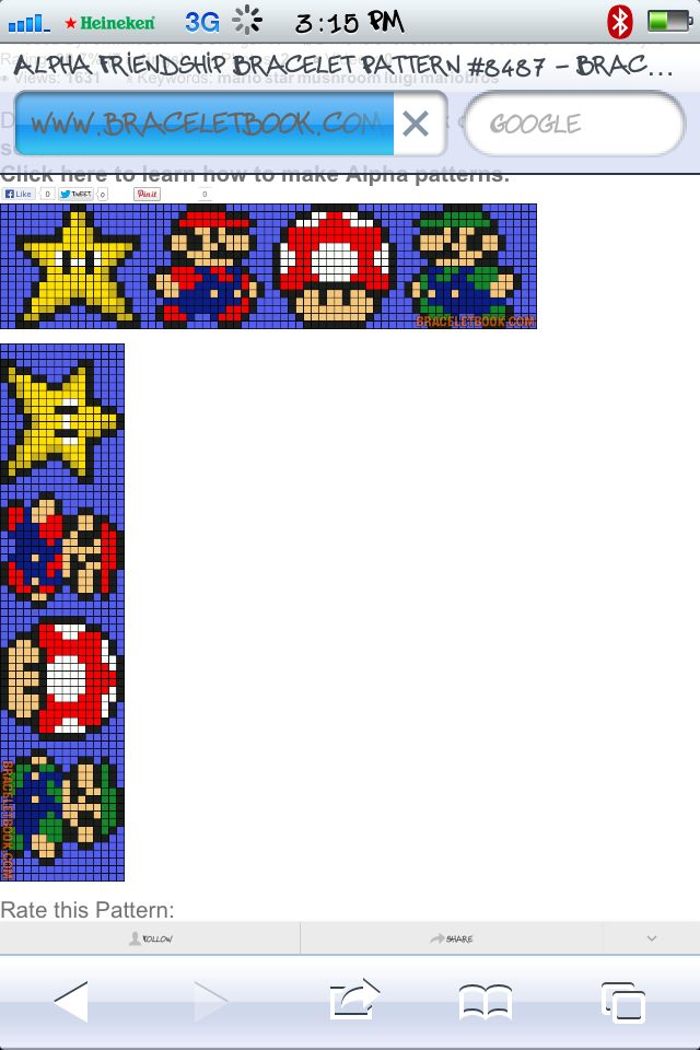 Classic Mario bros. pattern. A lot of fun to make. A lil short .... Added a green 1up mushroom to make it a lil longer:)