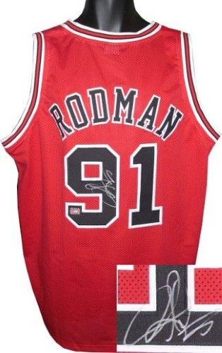 outlet store f2ae4 154a8 Dennis Rodman signed Red Custom Stitched Basketball Jersey ...