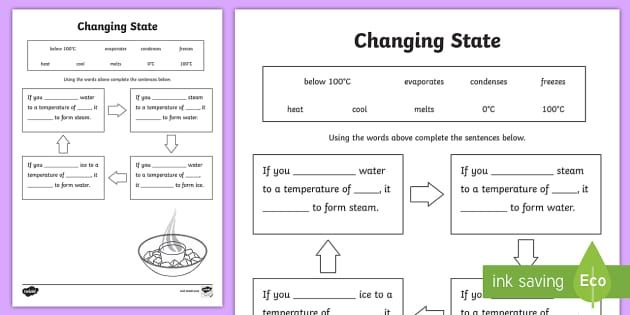 Ks2 Science Changing Materials Worksheets Resources Changes